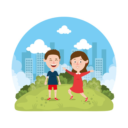 cute little kids couple in the park vector illustration design