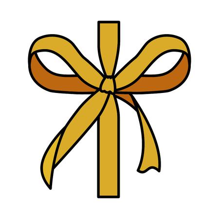 golden bow ribbon tape decorative vector illustration design Archivio Fotografico - 127641829