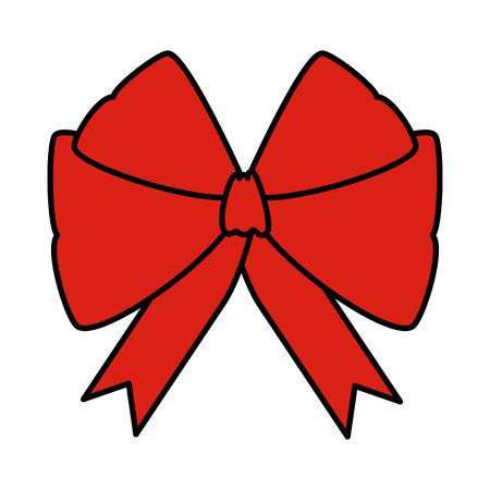 red bow ribbon tape decorative vector illustration design