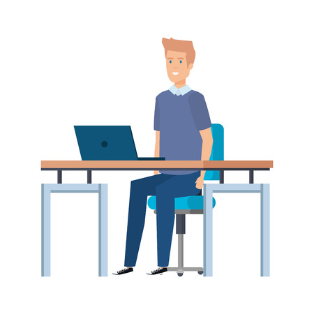 young man in the workplace vector illustration design