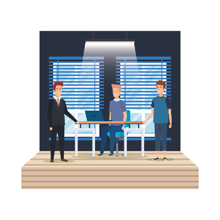 group of men in the workplace vector illustration design