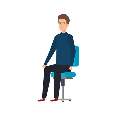 young and casual man sitting in chair vector illustration design Foto de archivo - 127641886