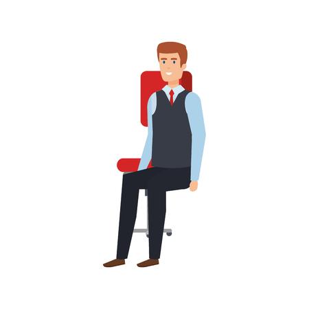 elegant businessman sitting in chair vector illustration design Çizim