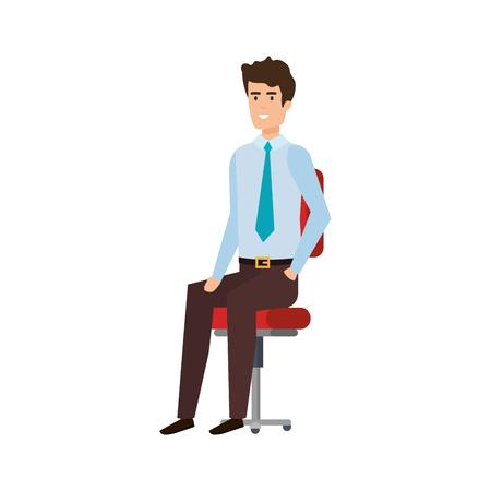 elegant businessman sitting in chair vector illustration design Illustration