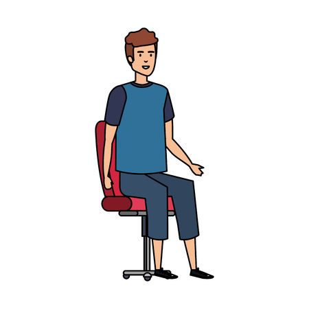 young man sitting in chair vector illustration design Foto de archivo - 127641893