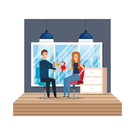 business couple in the workplace giving gift vector illustration design Ilustração