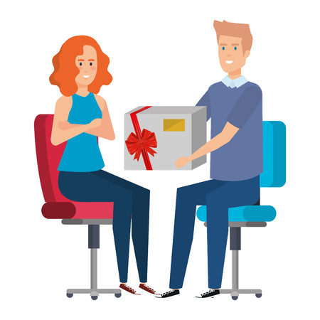 business couple sitting in chairs giving gift vector illustration design Illustration