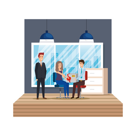 business people in the workplace giving gift vector illustration design