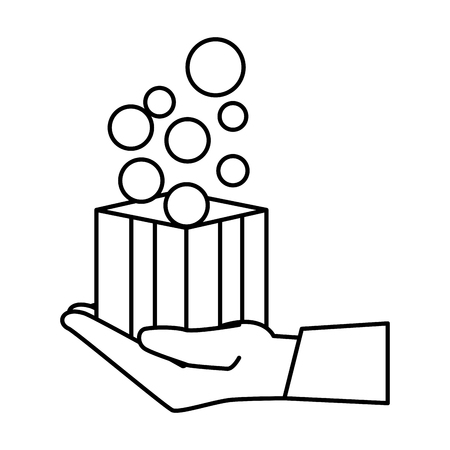 hand lifting box carton with balls vector illustration design 版權商用圖片 - 127641999
