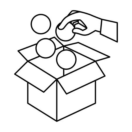 hand insert ball in box carton vector illustration design Ilustrace