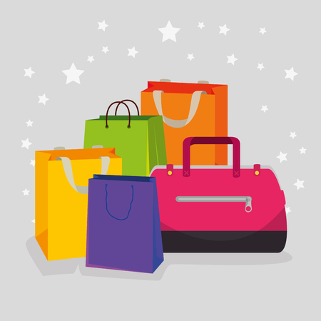shopping bags and handbags to special sale vector illustration