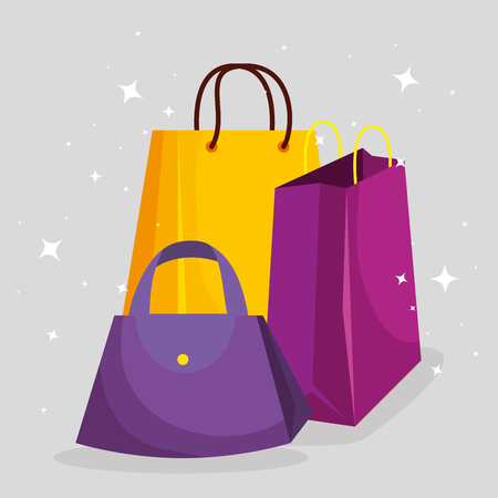 shopping bags with handbags to sale price vector illustration