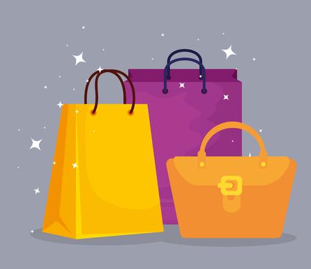 Bolsas de compras y bolso a la venta ofrecen ilustración vectorial