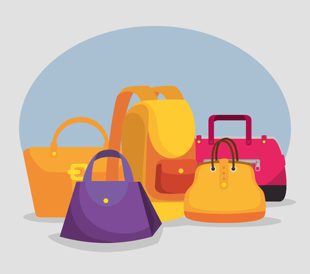 handbags and backpack to special shopping sale vector illustration