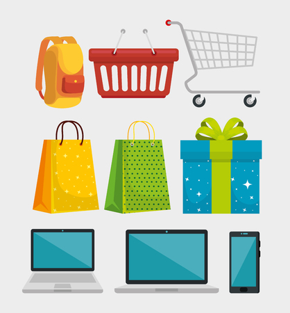 set shopping bags with backpack and smartphone vector illustration Illustration