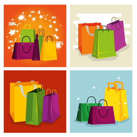 set shopping bags to special sale offer vector illustration Stock Vector - 127642019