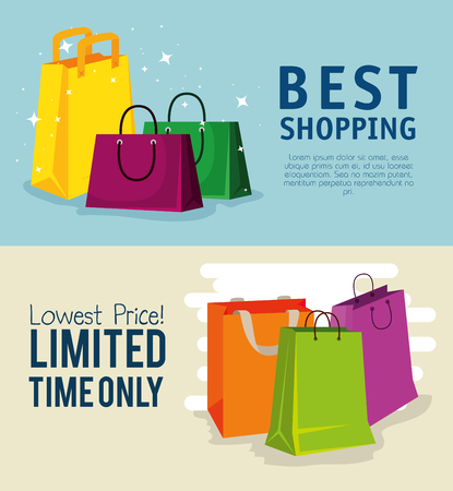 set shopping bags to online sale discount vector illustration Illustration