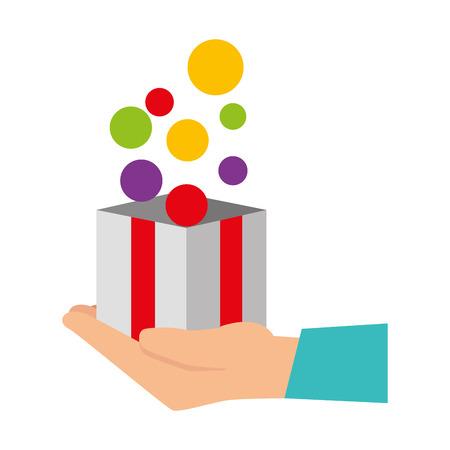 hand lifting box carton with balls vector illustration design