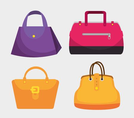 set fashion handbags elegants style vector illustration