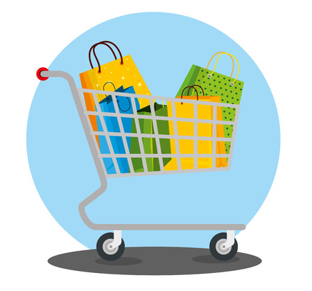 shopping bags inside cart to sale price vector illustration