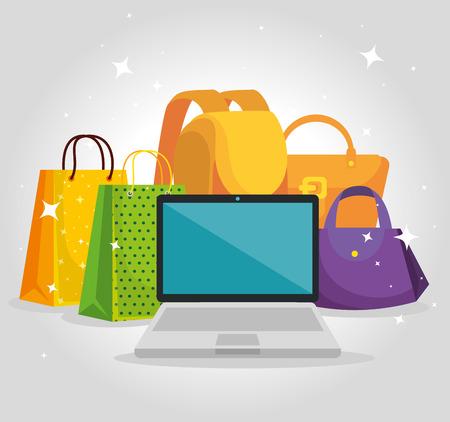 shopping bags with laptop and hanbag sale vector illustration
