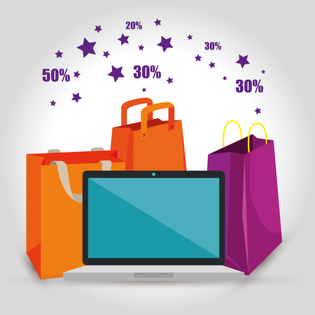 shopping bags with laptop to sale discount vector illustration Banque d'images - 112200613
