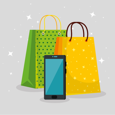 shopping bags with smartphone to special sale vector illustration Illustration