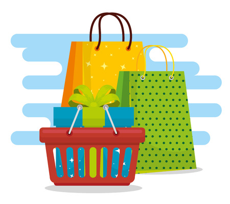 shopping bags with basket and present sale vector illustration