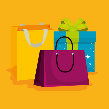 shopping bags and present to special sale vector illustration Illustration