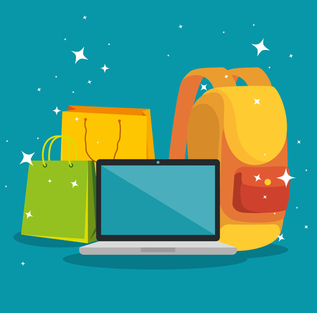 shopping bag with laptop and backpack sale vector illustration Illustration