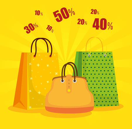 shopping bags with handbag to sale discount vector illustration