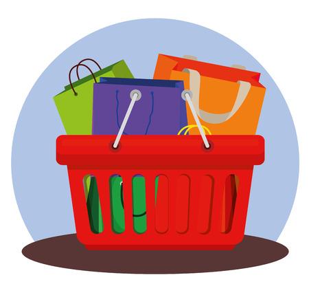 shopping bags inside basket to sale offer vector illustration