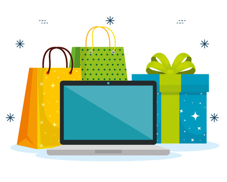 shopping bags with laptop and present to sale vector illustration Banque d'images - 112186510