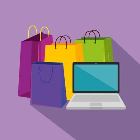 shopping bags with laptop to sale offer vector illustration