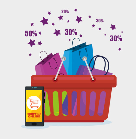 shopping bags inside basket and smartphone to sale discount vector illustration Illustration