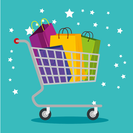 shopping bags inside cart to special sale vector illustration