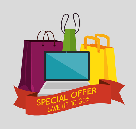 shopping bags with laptop to special sale offer vector illustration Stock Vector - 127642042