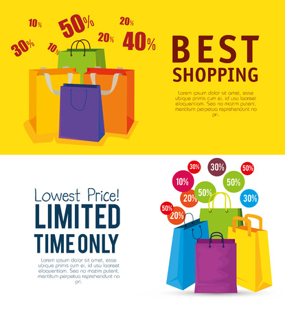 set shopping bags to online sale promo vector illustration