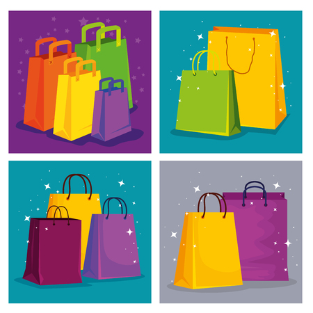 set shopping bags to special sale price vector illustration Vectores