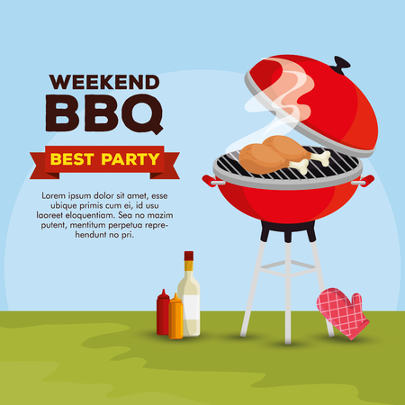 thighs grill preparation with bbq and sauces vector illustration Illustration