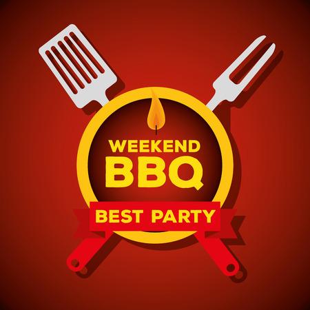 grill bbq preparation with fork utensils vector illustration