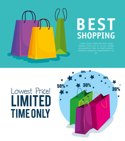 set shopping bags to online sale offer vector illustration  イラスト・ベクター素材