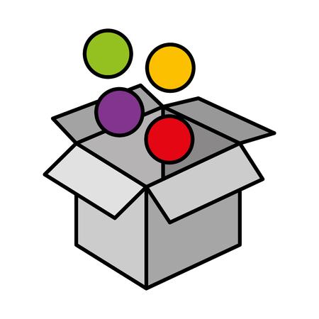 box carton with balls vector illustration design
