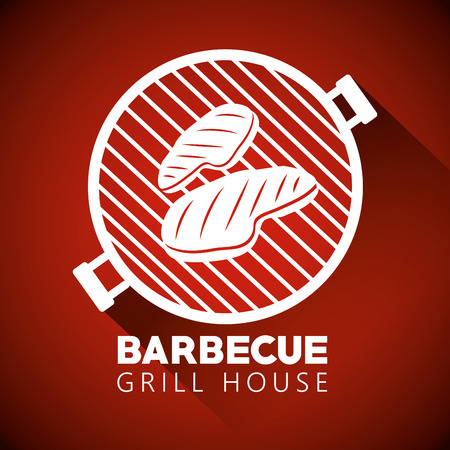 meat grill with bbq preparation in the house vector illustration
