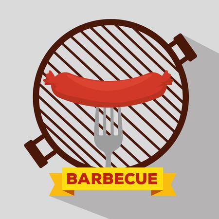 sausage grill with bbq preparation and fork vector illustration Ilustração