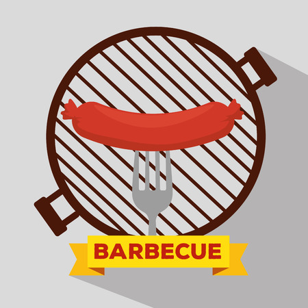 sausage grill with bbq preparation and fork vector illustration Illustration