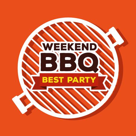 bbq preparation in the grill to weekend party vector illustration