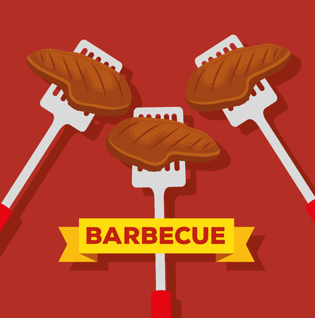 meat with slices object to bbq preparation vector illustration