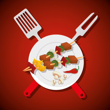sausages with meat and mushroom with bbq preparation vector illustration Çizim