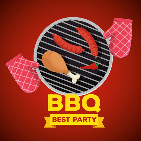 sausages and thigh grill with bbq preparation vector illustration